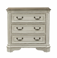 Magnolia 3-Drawer Bedside Chest with Antique Brass Hardware in Distressed White