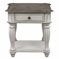 Magnolia Antique White 1-Drawer End Table with Fancy Face Top & Bottom Shelf