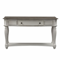 Magnolia Antique White 1-Drawer Sofa Table with Fancy Face Top & Bottom Shelf