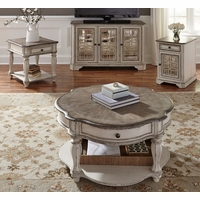 Magnolia Antique White Occasional Table Set w/Fancy Face Tops & Dovetailed Drawers