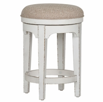 Magnolia Antique White Swivel Accent Stool with Ivory Tweed Chenille Fabric