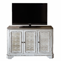 Magnolia Antique White TV Stand with Fancy Face Top & Decorative Grid Panels