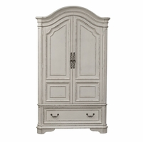 Magnolia Armoire w/Framed Drawer Fronts & Antique Brass Hardware in Antique White