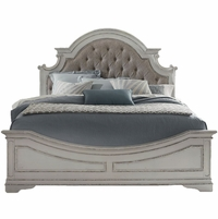 Magnolia King Panel Bed w/Button Tufted Beige Linen Headboard in Antique White