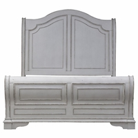 Magnolia King Sleigh Bed w/Arched Headboard & Bracket Feet in Antique White