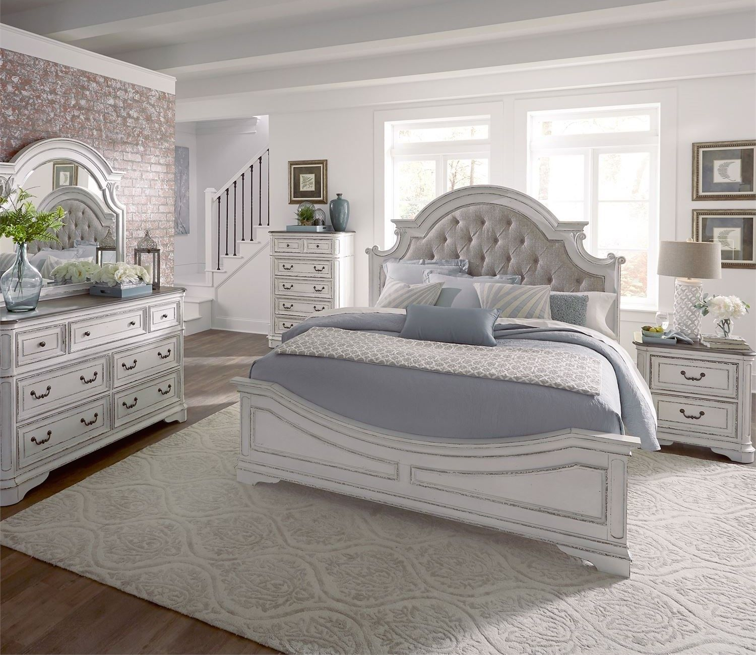 Magnolia Queen Panel Bedroom Set W Tufted Beige Linen