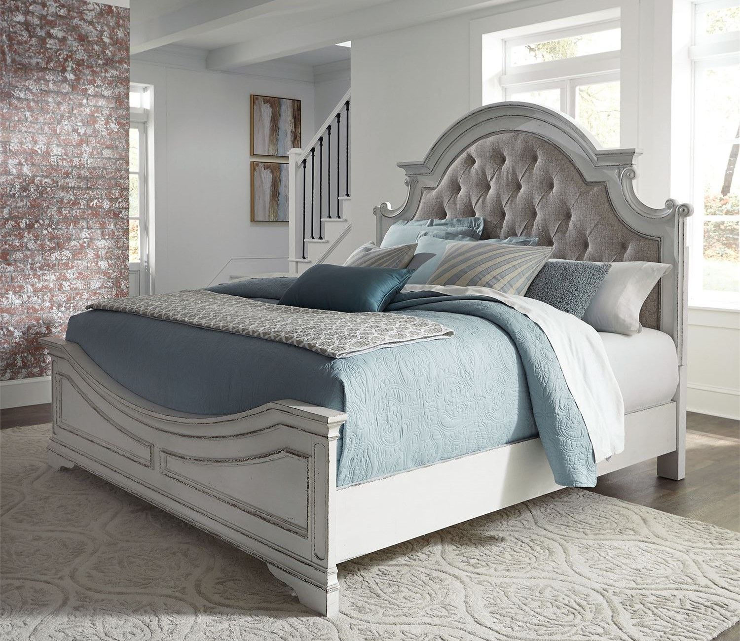 Magnolia Queen Panel Bedroom Set W/Tufted Beige Linen