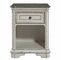 Magnolia Traditional 1-Drawer Nightstand in Distressed Antique White Finish