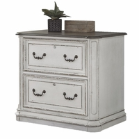 Magnolia Traditional Antique White 2-Drawer File Cabinet with Brass Hardware