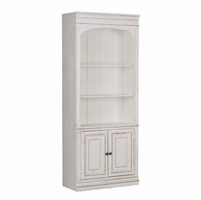 Magnolia Traditional Antique White Bookcase w/Bottom Cabinets & Pewter Hardware