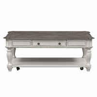 Magnolia Traditional Antique White Coffee Table with Drawer & Fancy Face Top