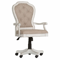 Magnolia Traditional Antique White Office Chair w/Button Tufted Back & Casters