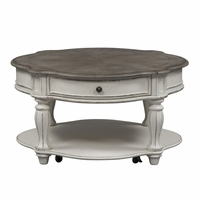 Magnolia Traditional Antique White Round Coffee Table w/Fancy Face Top & Drawer
