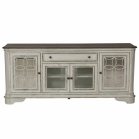 Magnolia Traditional Antique White TV Stand with Decorative Panel & Mirrored Doors