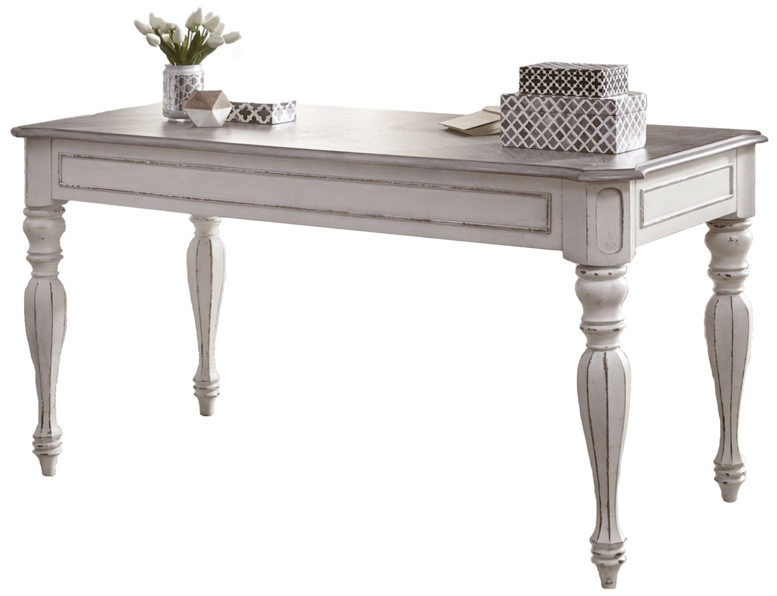 Magnolia Traditional Antique White Writing Desk With Flip