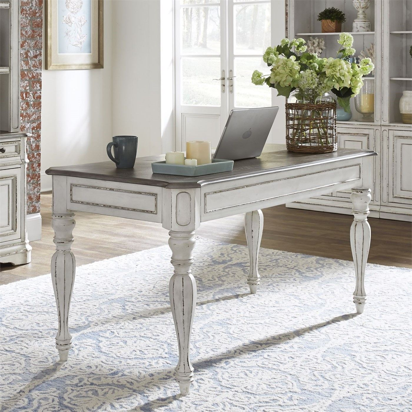 Magnolia Traditional Antique White Writing Desk with Flip ...