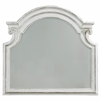 Magnolia Traditional Beveled Mirror with Scrolled Details in Antique White