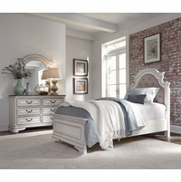 Magnolia Traditional Kids Tufted Chenille Full Bedroom Set in Antique White Finish