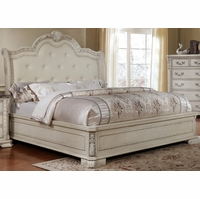 Magnolia Traditional Upholstered Queen Panel Bed Antique White Finish