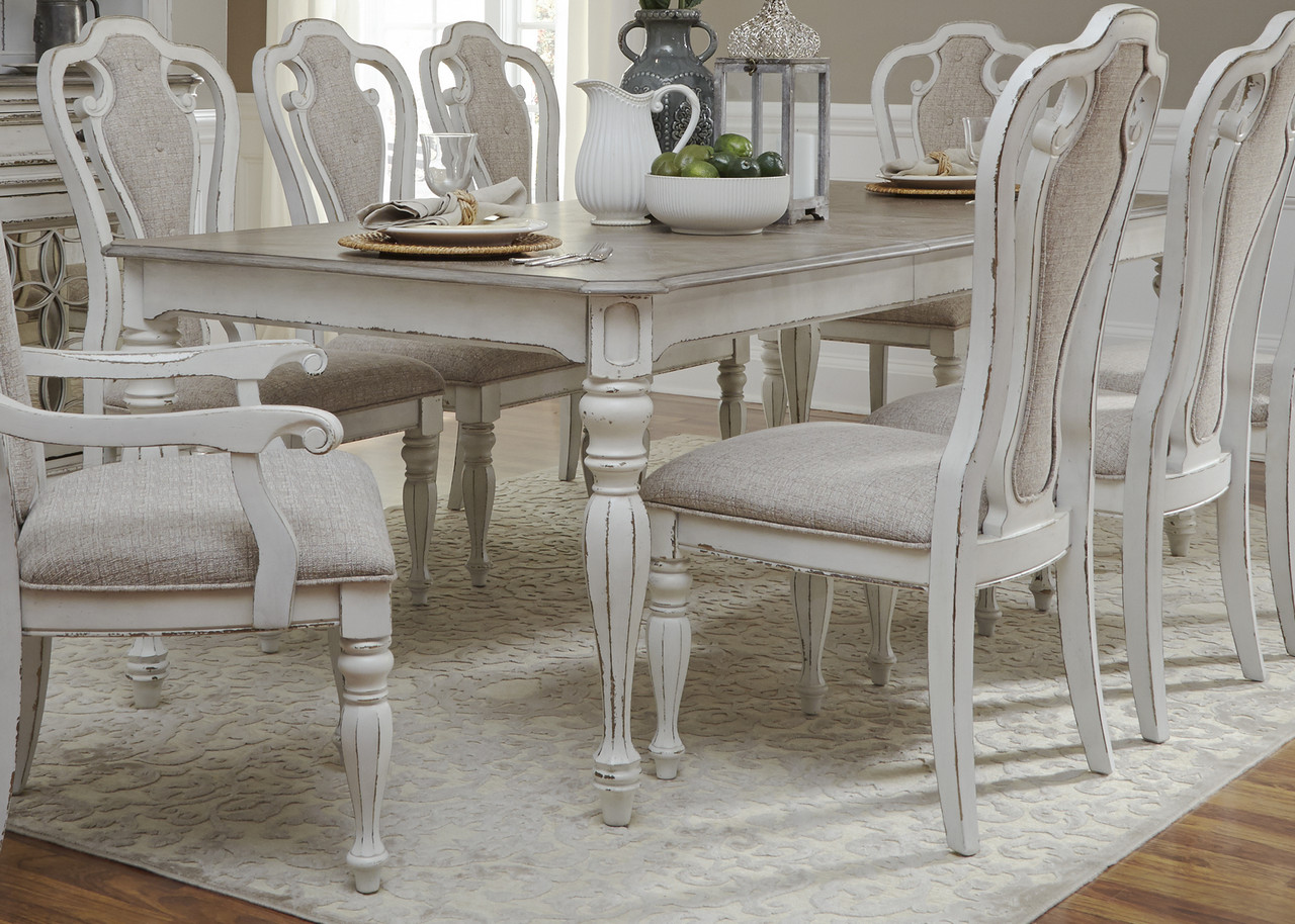 Details About New Magnolia Clic Rectangular 72 90 Leg Dining Table Set Antique White Finish