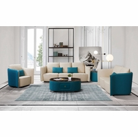 Makassar Beige & Ocean Blue Leather Chair with Tufted Diamond Detail
