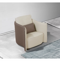 Makassar Lt. Grey & Taupe Leather Chair with Tufted Diamond Detail
