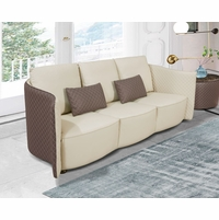 Makassar Lt. Grey & Taupe Leather Sofa with Tufted Diamond Detail
