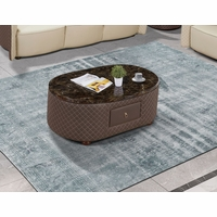 Makassar Oval Coffee Cocktail Table Marble & Tufted Leather w/ Contrast Stitching