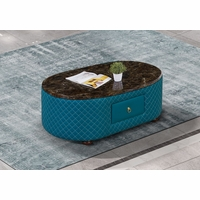 Makassar Oval Coffee Table Ocean Blue Marble & Tufted Leather w/ Contrast Stitching