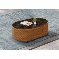 Makassar Oval Coffee Table Orange Marble & Tufted Leather w/ Contrast Stitching