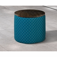 Makassar Round Side Table Ocean Blue Marble & Tufted Leather w/ Contrast Stitching