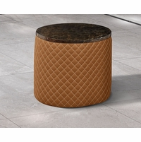 Makassar Round Side Table Orange Marble & Tufted Leather w/ Contrast Stitching