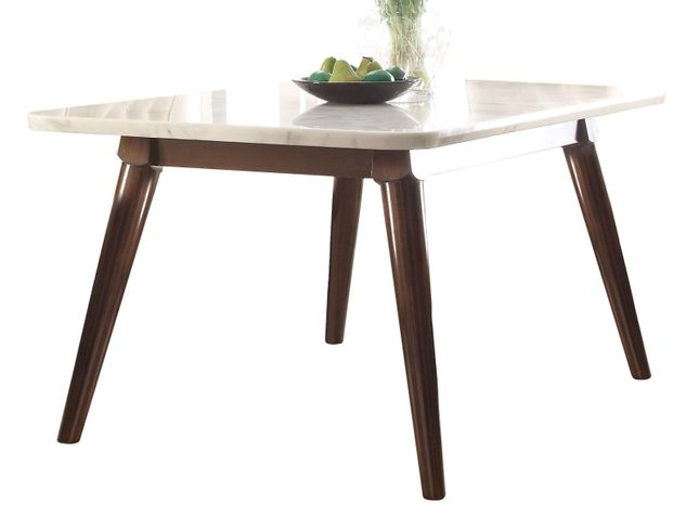 Mallory Transitional 64 Marble Top Dining Table W Wooden Legs In Walnut Finish