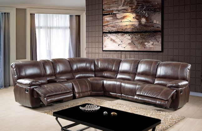 Reclining Sectional Sofa Storage Console w/ Cup Holders Brown Leather Air