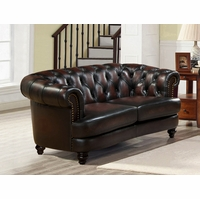 Mario Burgundy Top Grain Leather Chesterfield Loveseat With Antique Finish