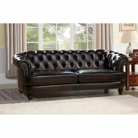 Mario Burgundy Top Grain Leather Chesterfield Sofa With Antique Finish