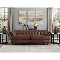 Mario Top Grain Leather Chesterfield Sofa Hand Rubbed Antique Finish