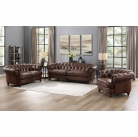 Mario Top Grain Leather Chesterfield Sofa Loveseat Chair 3pc Set