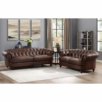 Mario Top Grain Leather Chesterfield Sofa & Loveseat Set Hand Rubbed Finish