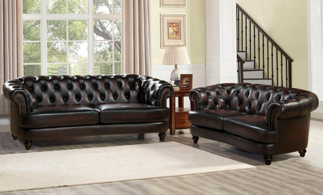 Mario Top Grain Leather Chesterfield Sofa Loveseat Set Rich Burgundy Finish