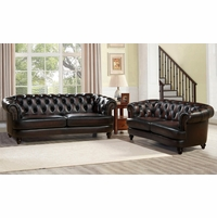 Mario Top Grain Leather Chesterfield Sofa & Loveseat Set Rich Burgundy Finish