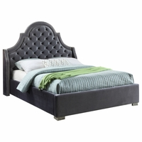 Marjorie Modern Dark Grey Velvet Button Tufted Queen Platform Bed with Nailhead Trim
