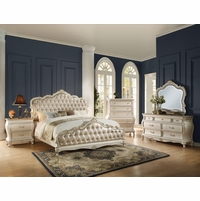 Marquee French Bombe Crystal Tufted Queen 4-Piece Bedroom Set in Pearl White