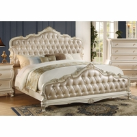 Marquee French Rococo Crystal Tufted Queen Panel Bed Pearl White w/Gold Accents