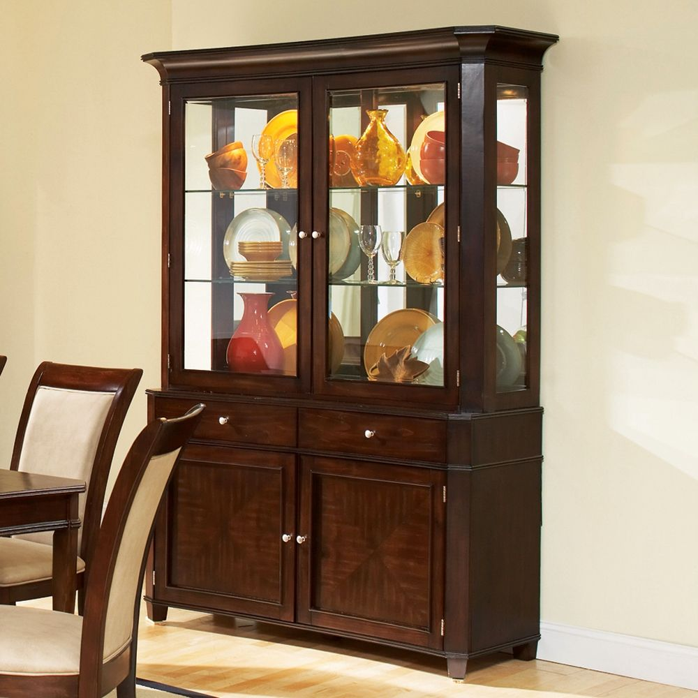 Marseille Transitional Ash China Cabinet In Merlot Cherry