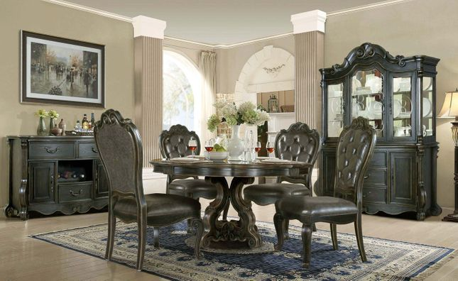 """Traditional Gothic 5 pc Dining Set 60"""" Round Table Button Tufted Black Chairs"""