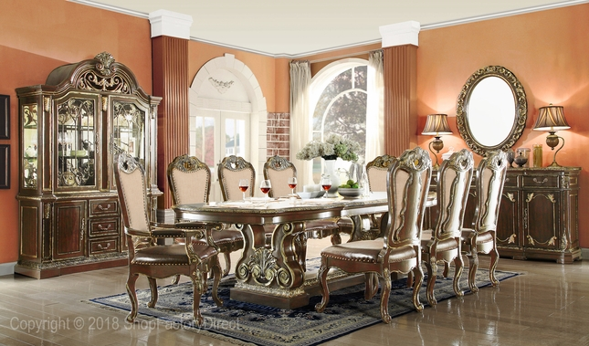 Matteo Traditional Gothic Style 5 Piece Formal Dining Set In Black Walnut  Finish