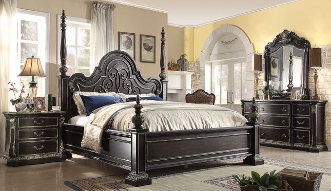 Matteo Gothic Style 4-pc King Poster Bed Set In Ebony Finish ...
