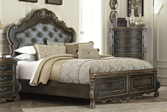 Old World Traditional Luxury Queen Bed Dark Brown Ebony Leather Headboard