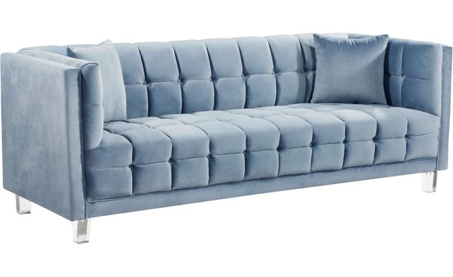 Mattie Modern Channel Button Tufted Light Sky Blue Velvet Sofa W
